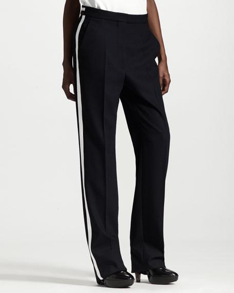 Wide-Leg Contrast-Stripe Tuxedo Pants