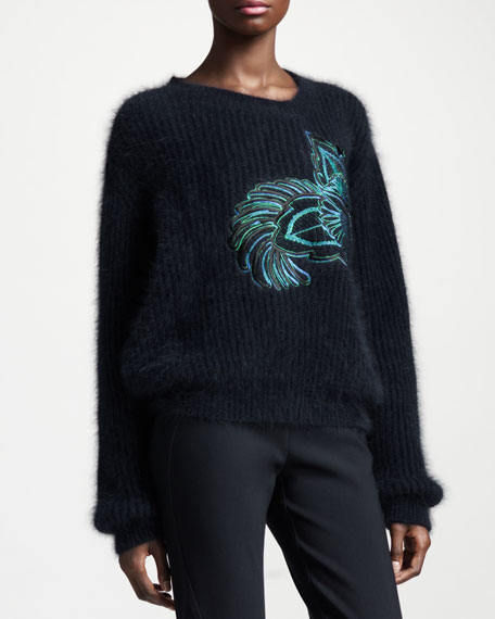 Flower-Embroidered Angora-Blend Sweater