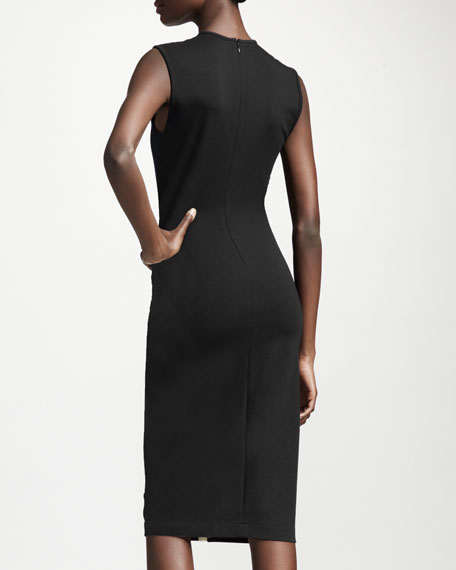 Wave Colorblock Long Sheath Dress