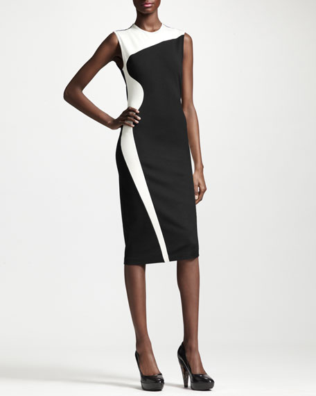 Wave Colorblock Long Sheath Dress