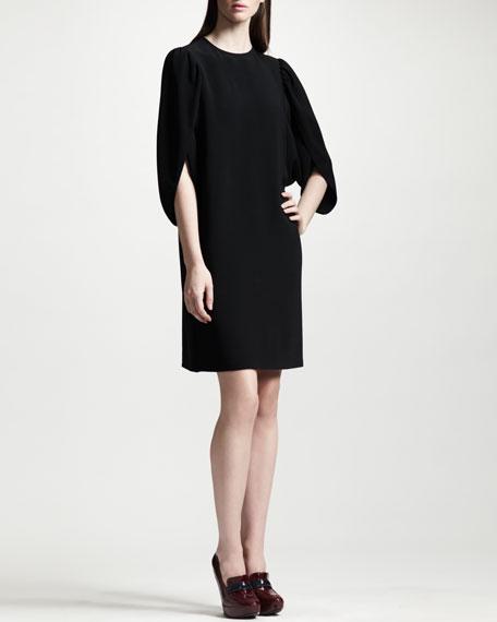 Tulip-Sleeve Cady Shift Dress