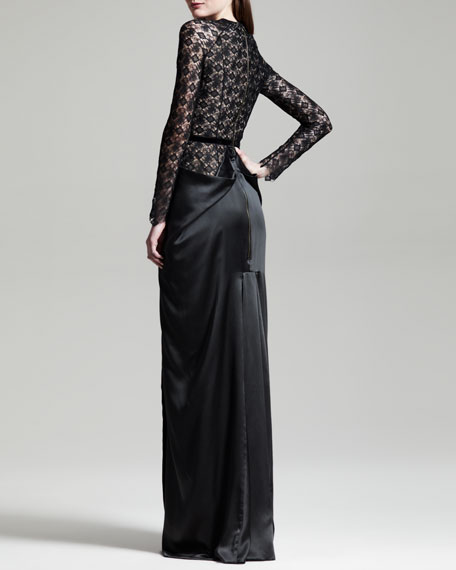 Long-Sleeve Satin-Skirt Lace Gown