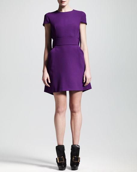 Wool Crepe Draped-Back Dress