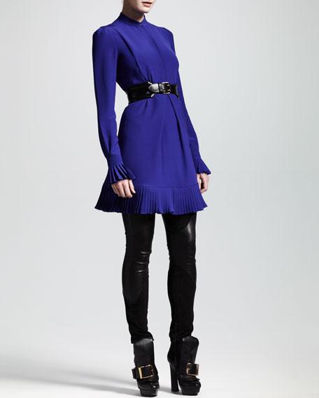 Pleated Cady Shirtdress