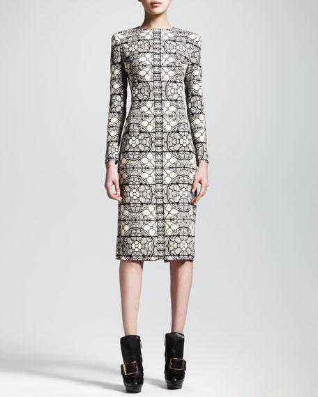 Long-Sleeve Stained Glass Sheath Dress