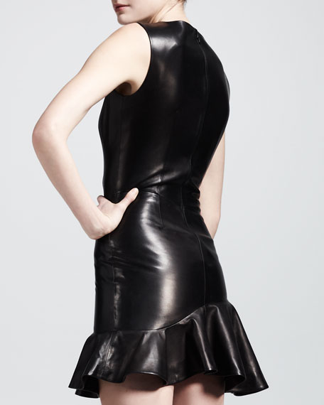 Teardrop-Neck Leather Flounce Dress