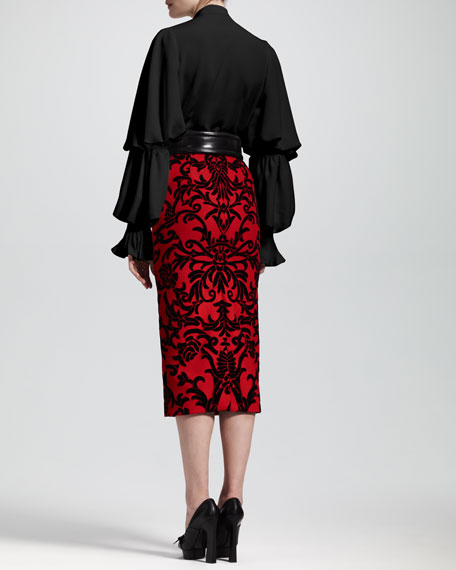 Jacquard-Flocked Pencil Skirt