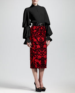 Alexander McQueen Jacquard-Flocked Pencil Skirt