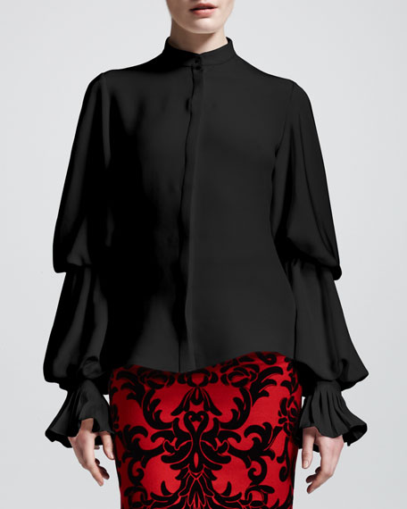 Buttoned Double-Puff Sleeve Blouse