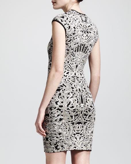 Cap-Sleeve Puckered Jacquard Sheath Dress