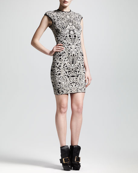 Cap-Sleeve Puckered Jacquard Sheath Dress