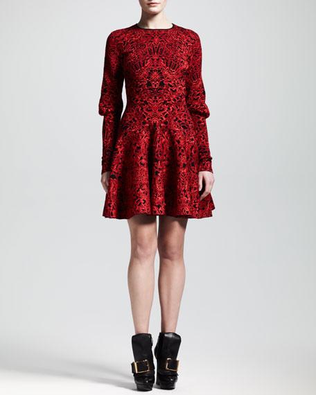 Puckered Jacquard Mutton-Sleeve Dress