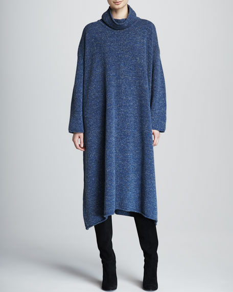 A-Line Merino Wool Monk's Dress, Denim Blue
