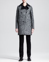 Givenchy Descending Double-Breasted Tweed Coat