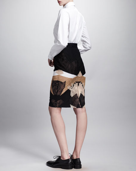 Patchwork Lace Pencil Skirt