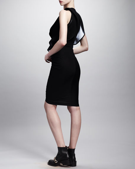 Ruffle-Front Contrast Jersey Dress