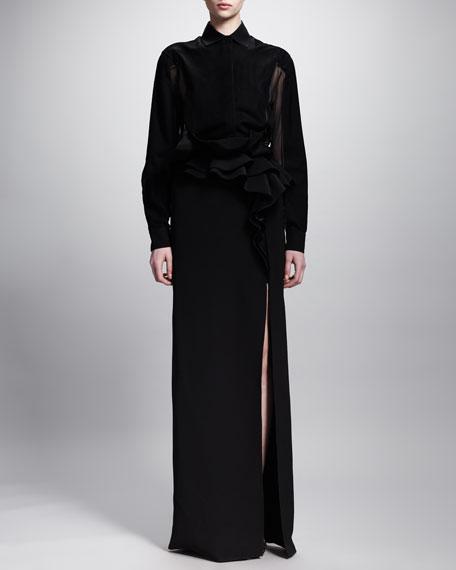 Ruffled Waist Long Skirt