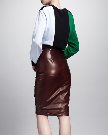 Ruffle-Front Leather Skirt