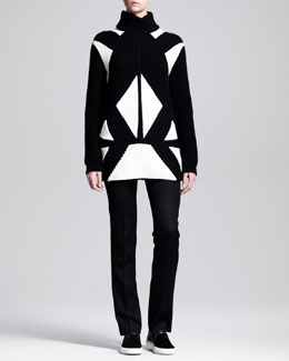 Givenchy Intarsia Patchwork Turtleneck Sweater