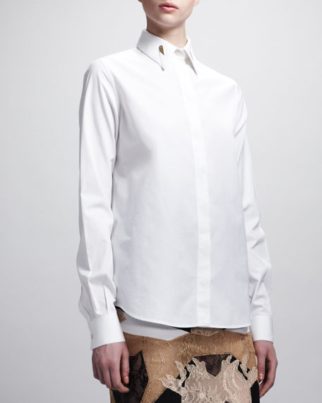 Collar-Stay Poplin Blouse