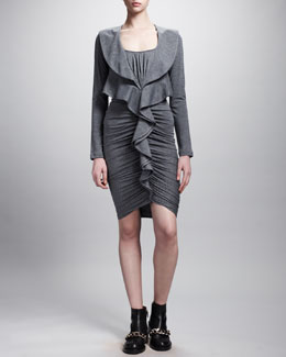 Givenchy Ruffle-Front Ruched Jersey Dress