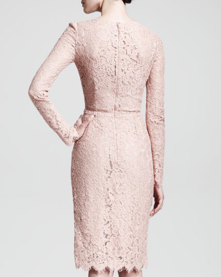 Long-Sleeve Belted Lace Dress