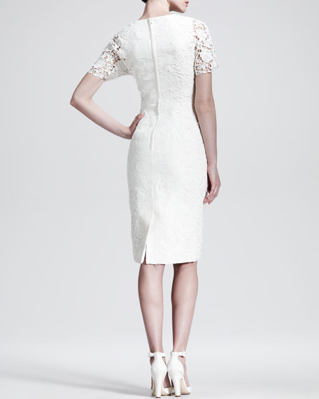 Brocade Lace-Sleeve Cocktail Dress