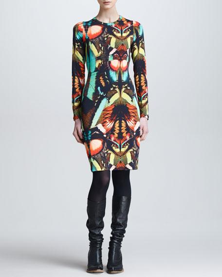 Butterfly-Print Long-Sleeve Dress