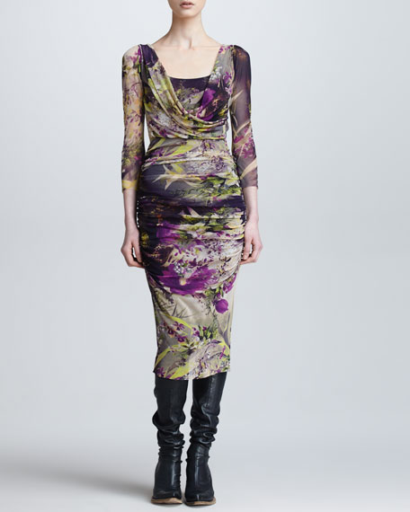 Winter Garden-Print Draped Surplice Dress