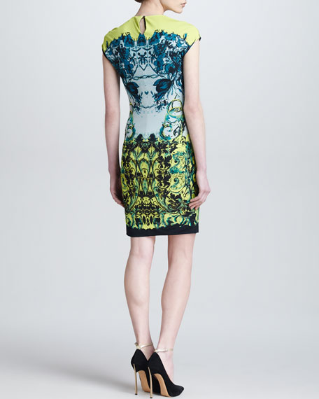 Baroque-Print Cap-Sleeve Dress