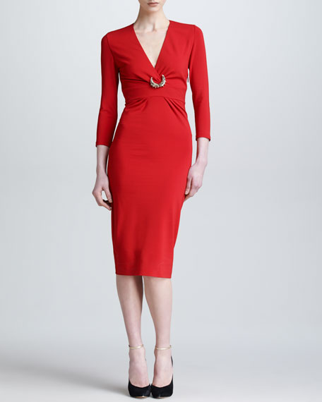 Three-Quarter-Sleeve Ponte Dress, Red