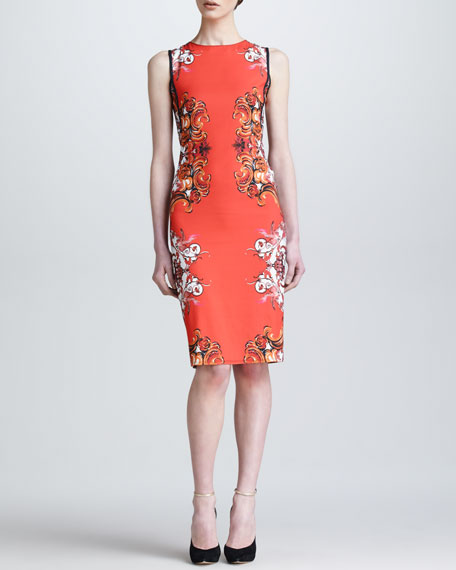 Painted Print Back-Contrast Sheath Dress, Coral