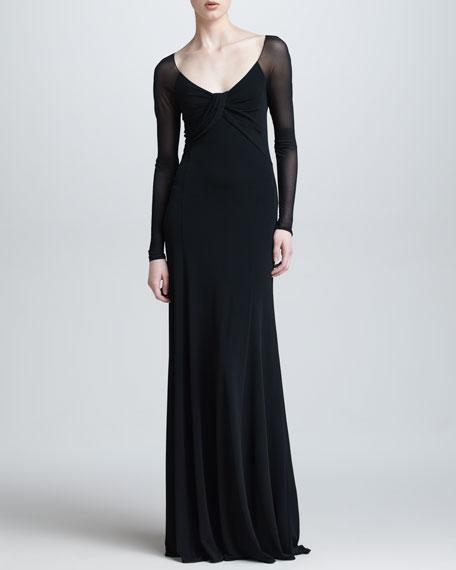Sheer Long-Sleeve Gown, Black