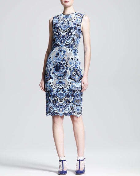 Sleeveless Ceramic Lace Sheath Dress