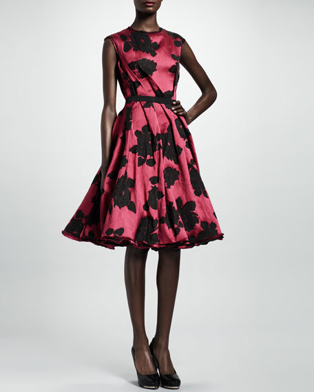 Rose Cloque Inside-Pleat Dress, Fuchsia