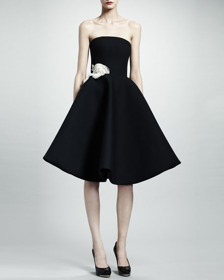 Strapless Rose Applique Gabardine Dress, Black