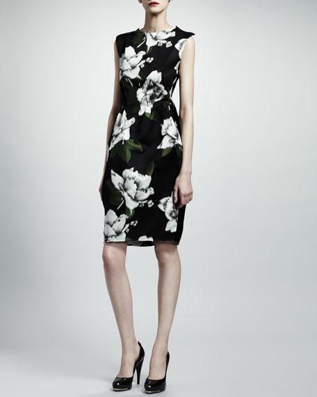 Open-Back Floral Dress, Navy/Gray