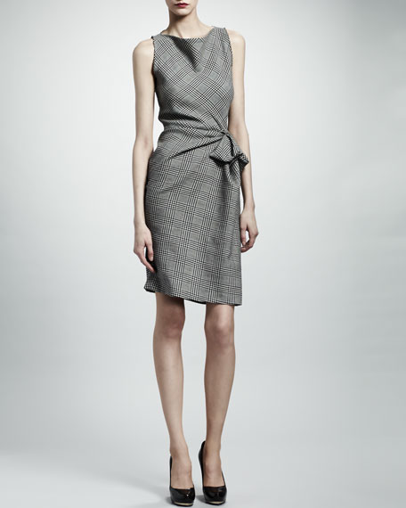 Prince of Wales Check Dress, Gray/Ecru