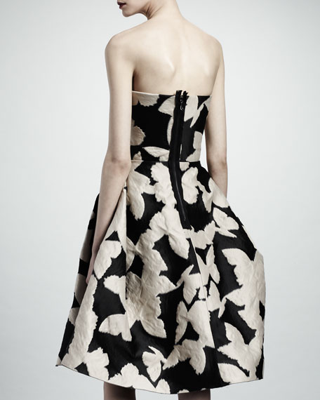Strapless Butterfly Jacquard Dress, Black/Ivory