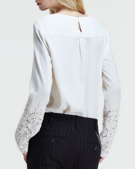 Silk Lace-Sleeve Blouse