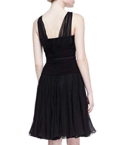 Gathered V-Neck Silk Chiffon Dress, Black