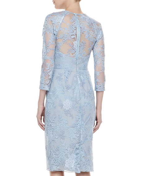3/4-Sleeve Lace-Overlay Dress
