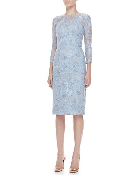 3/4-Sleeve Lace-Overlay Dress