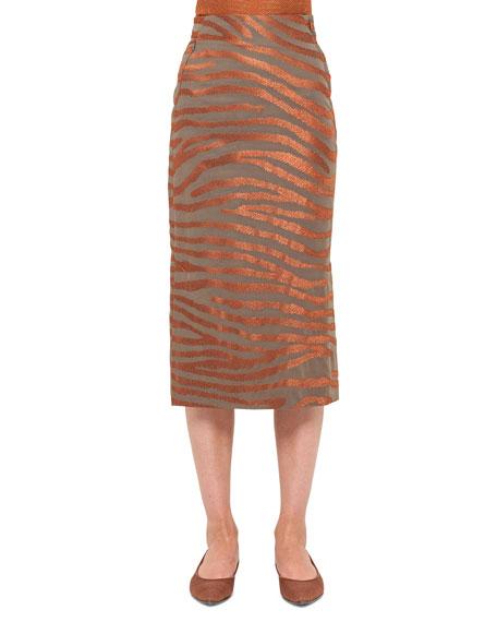 Zebra-Embroidered Midi Skirt