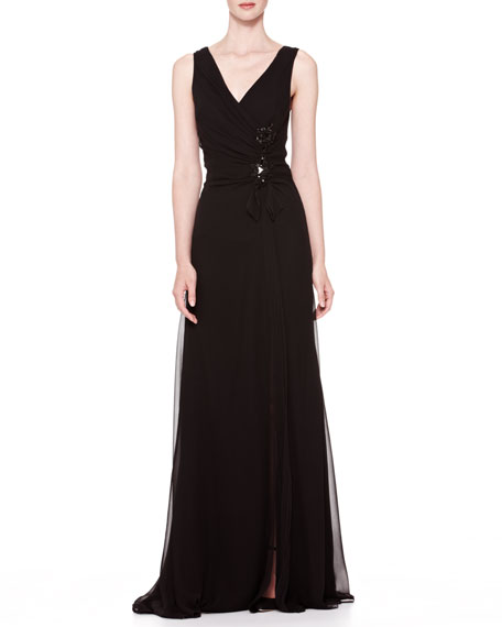 V-Neck Side-Gathered Gown, Black