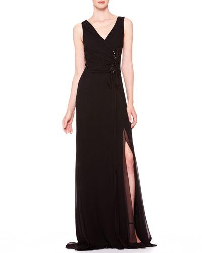 V-Neck Side-Gathered Gown, Black