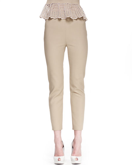 Skinny Back-Zip Pants, Khaki