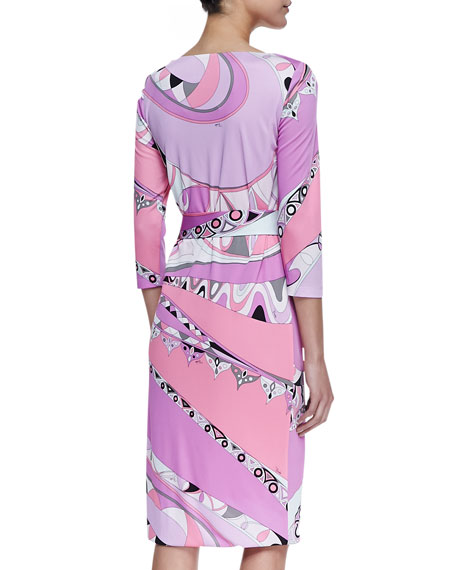Marilyn Shape 3/4-Sleeve Print Dress, Tragara Pink