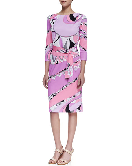 Marilyn Shape 3/4-Sleeve Print Dress, Tragara Pink