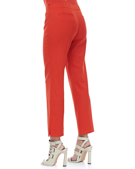 Side-Zip Ankle Pants, Red